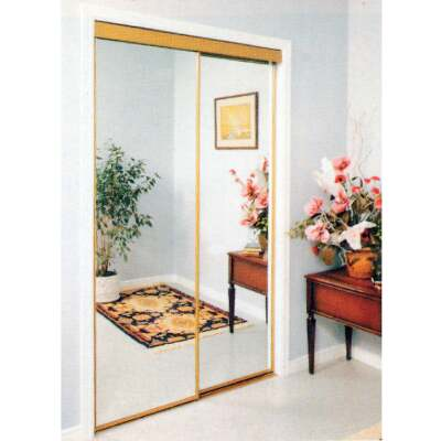 Erias 4050 Series 59 In. W. x 80-1/2 In. H. Mayan Gold Top Hung Mirrored Bypass Door