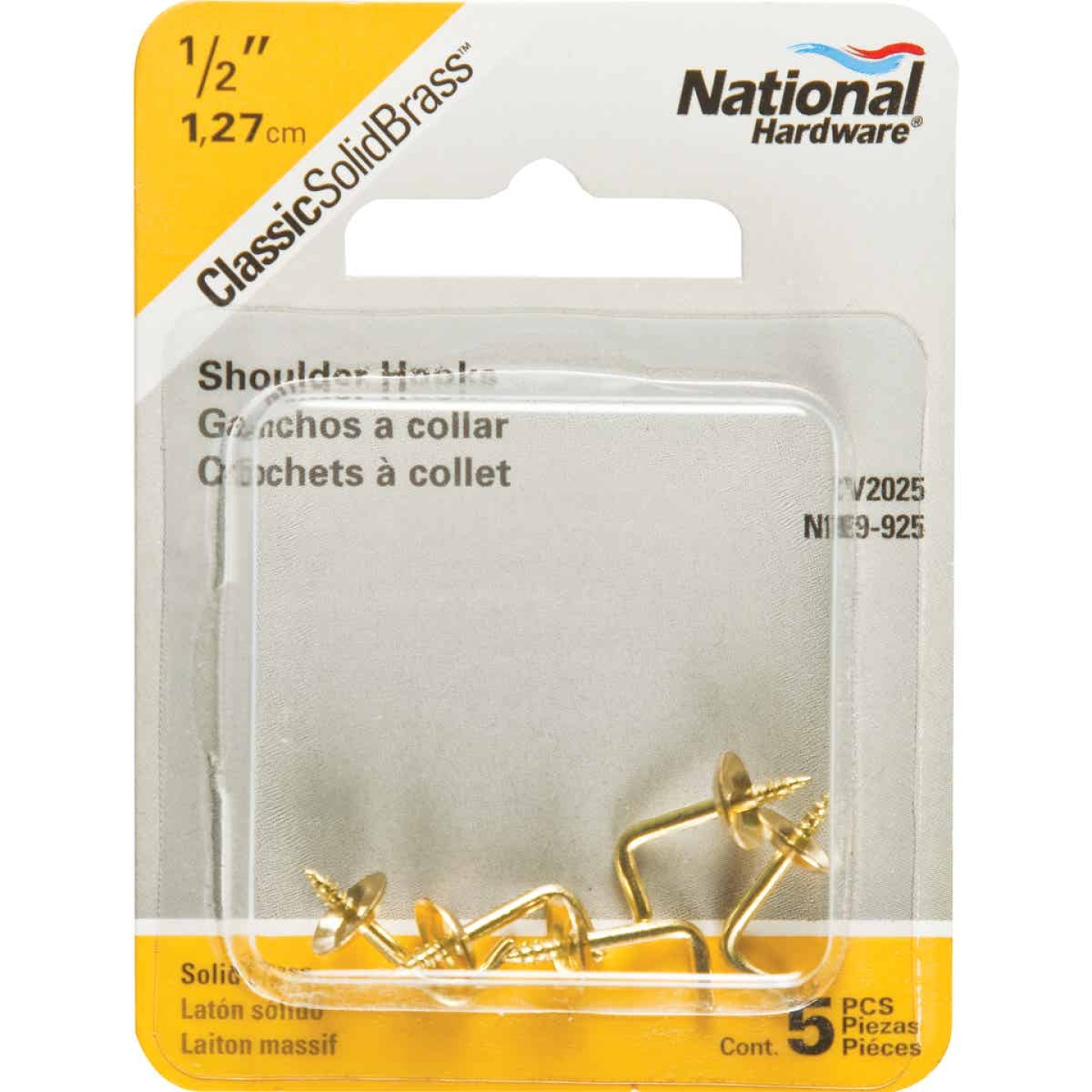 National 1/2 In. Solid Brass Shoulder Hook (5 Count) Image 2