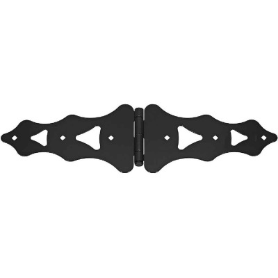 National 10 In. Black Ornamental Strap Hinge