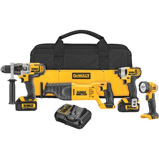 DeWalt 4-Tool 20V MAX XR Lithium-Ion Hammer Drill, Reciprocating Saw, Impact Driver & Work Light Cordless Tool Combo Kit