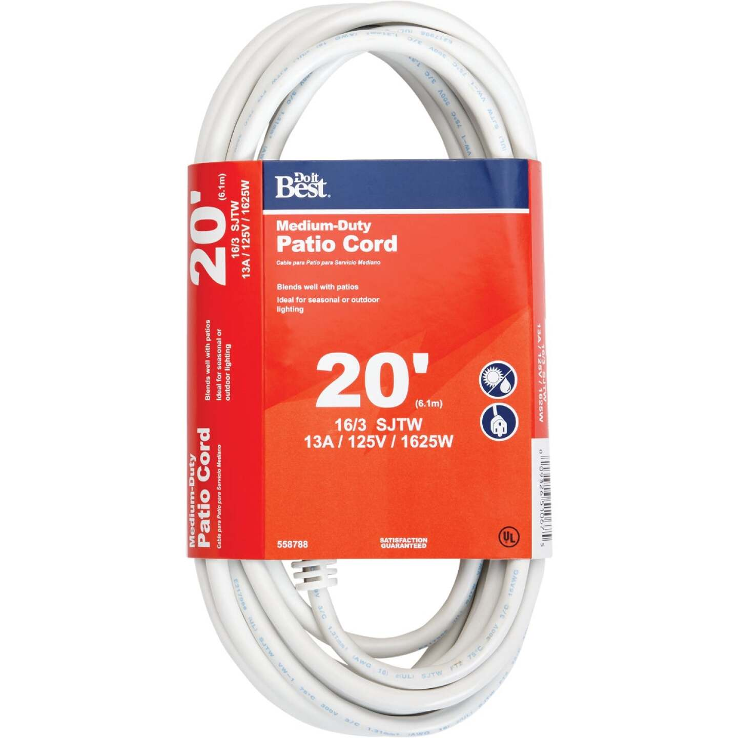 Do it Best 20 Ft. 16/3 Medium-Duty White Patio Extension Cord Image 1